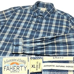 FAHERTY Authentic Natural Indigo Flannel Shirt